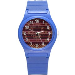 Ulos Suji Traditional Art Pattern Round Plastic Sport Watch (s)