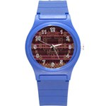 Ulos Suji Traditional Art Pattern Round Plastic Sport Watch (S) Front