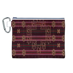 Ulos Suji Traditional Art Pattern Canvas Cosmetic Bag (L)