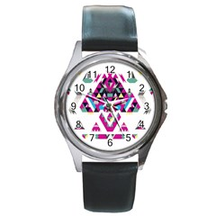 Geometric Play Round Metal Watch