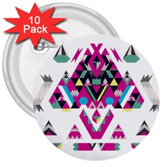 Geometric Play 3  Buttons (10 Pack)