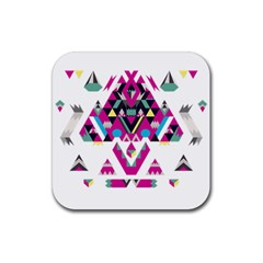 Geometric Play Rubber Square Coaster (4 Pack)