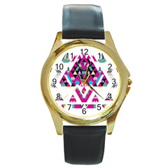 Geometric Play Round Gold Metal Watch