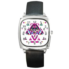 Geometric Play Square Metal Watch