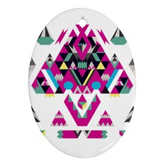 Geometric Play Oval Ornament (Two Sides)