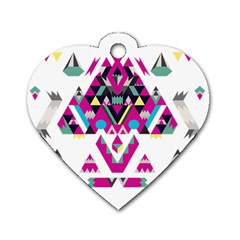 Geometric Play Dog Tag Heart (One Side)