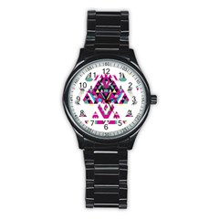 Geometric Play Stainless Steel Round Watch