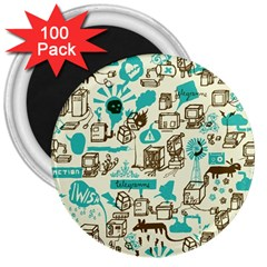 Telegramme 3  Magnets (100 Pack)