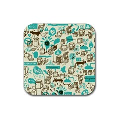 Telegramme Rubber Square Coaster (4 Pack)