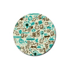 Telegramme Rubber Round Coaster (4 Pack)