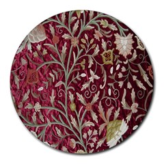 Crewel Fabric Tree Of Life Maroon Round Mousepads