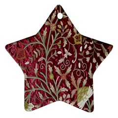 Crewel Fabric Tree Of Life Maroon Ornament (Star)