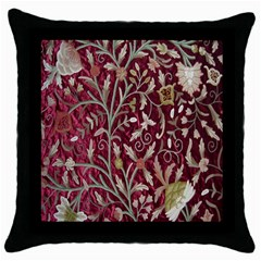 Crewel Fabric Tree Of Life Maroon Throw Pillow Case (black)