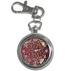 Crewel Fabric Tree Of Life Maroon Key Chain Watches