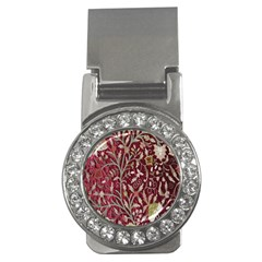Crewel Fabric Tree Of Life Maroon Money Clips (cz)