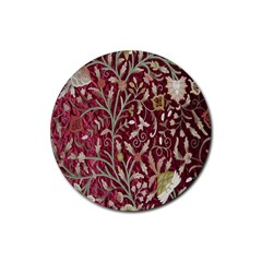 Crewel Fabric Tree Of Life Maroon Rubber Round Coaster (4 Pack)