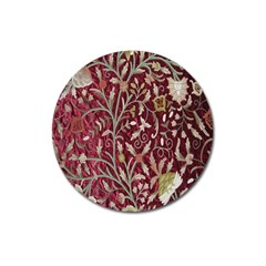 Crewel Fabric Tree Of Life Maroon Magnet 3  (Round)