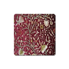 Crewel Fabric Tree Of Life Maroon Square Magnet