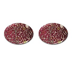 Crewel Fabric Tree Of Life Maroon Cufflinks (oval)