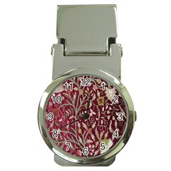 Crewel Fabric Tree Of Life Maroon Money Clip Watches