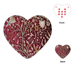 Crewel Fabric Tree Of Life Maroon Playing Cards (heart)