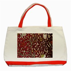Crewel Fabric Tree Of Life Maroon Classic Tote Bag (red)