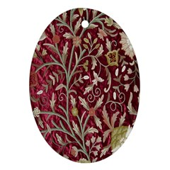 Crewel Fabric Tree Of Life Maroon Oval Ornament (two Sides)