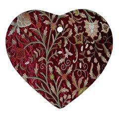 Crewel Fabric Tree Of Life Maroon Heart Ornament (two Sides)