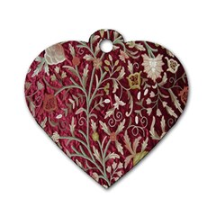 Crewel Fabric Tree Of Life Maroon Dog Tag Heart (one Side)