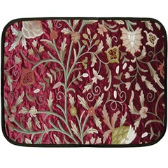 Crewel Fabric Tree Of Life Maroon Fleece Blanket (Mini)