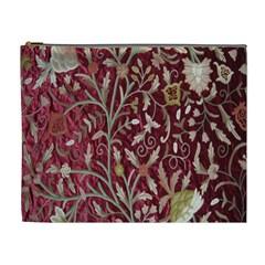 Crewel Fabric Tree Of Life Maroon Cosmetic Bag (xl)