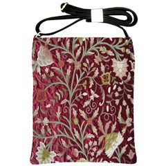 Crewel Fabric Tree Of Life Maroon Shoulder Sling Bags