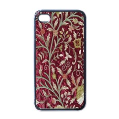 Crewel Fabric Tree Of Life Maroon Apple Iphone 4 Case (black)