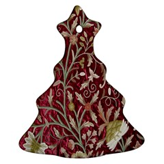 Crewel Fabric Tree Of Life Maroon Christmas Tree Ornament (two Sides)