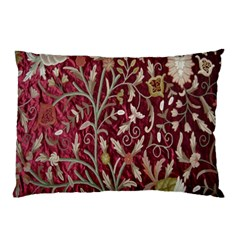 Crewel Fabric Tree Of Life Maroon Pillow Case (two Sides)