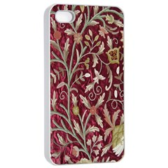 Crewel Fabric Tree Of Life Maroon Apple iPhone 4/4s Seamless Case (White)