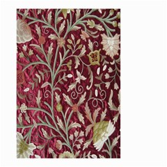 Crewel Fabric Tree Of Life Maroon Small Garden Flag (two Sides)