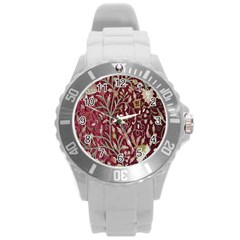 Crewel Fabric Tree Of Life Maroon Round Plastic Sport Watch (l)
