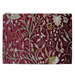 Crewel Fabric Tree Of Life Maroon Cosmetic Bag (xxl)