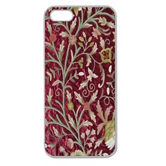 Crewel Fabric Tree Of Life Maroon Apple Seamless Iphone 5 Case (clear)
