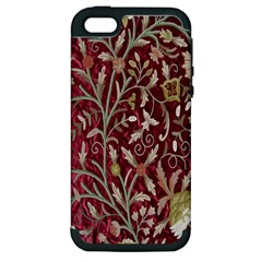 Crewel Fabric Tree Of Life Maroon Apple Iphone 5 Hardshell Case (pc+silicone)