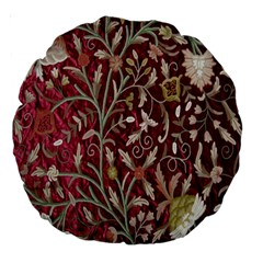 Crewel Fabric Tree Of Life Maroon Large 18  Premium Round Cushions