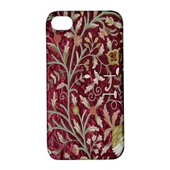 Crewel Fabric Tree Of Life Maroon Apple Iphone 4/4s Hardshell Case With Stand