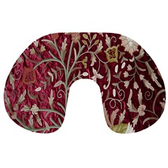 Crewel Fabric Tree Of Life Maroon Travel Neck Pillows