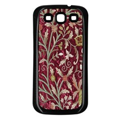 Crewel Fabric Tree Of Life Maroon Samsung Galaxy S3 Back Case (Black)
