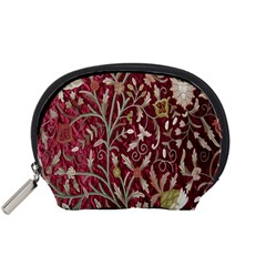 Crewel Fabric Tree Of Life Maroon Accessory Pouches (small)
