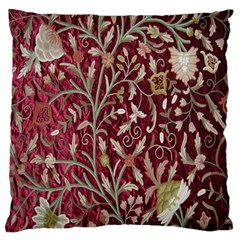 Crewel Fabric Tree Of Life Maroon Large Flano Cushion Case (One Side)