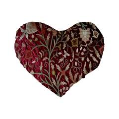 Crewel Fabric Tree Of Life Maroon Standard 16  Premium Flano Heart Shape Cushions
