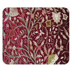 Crewel Fabric Tree Of Life Maroon Double Sided Flano Blanket (Small)