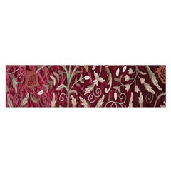 Crewel Fabric Tree Of Life Maroon Satin Scarf (oblong)